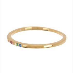 Argentina Vivo 18K Gold Plated Rainbow Ring Size 7
